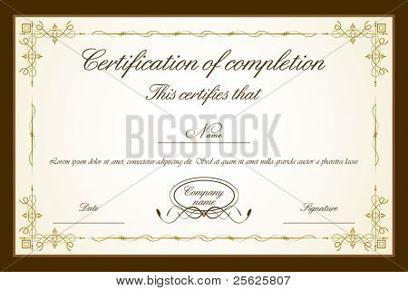 illustration of certificate template with floral frame
