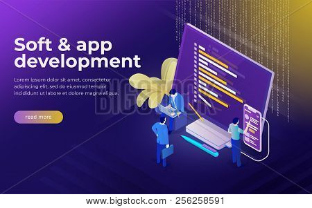 Development Of Software And Mobile App. Program Code On Monitor And Phone Screen. Analysts And Manag