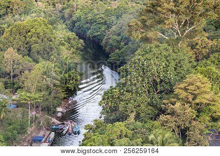 Aerial View Jungle Surrounding Merlinau River At Mulu National Park