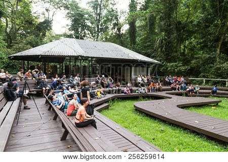 Mulu, Sarawak, September 1, 2018: Tourists Gather To Watch The Daily Bats Exodus From Deer Caves At
