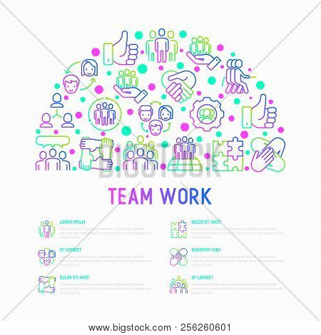 Teamwork Concept In Half Circle With Thin Line Icons: Group Of People, Mutual Assistance, Meeting, H