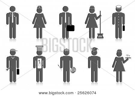 illustration of set of icon of professional people