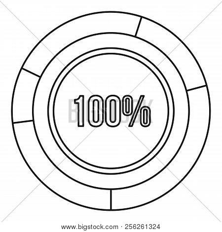 Pie Chart Circle Graph 100 Percent Icon. Outline Illustration Of Icon For Webicon. Outline Illustrat