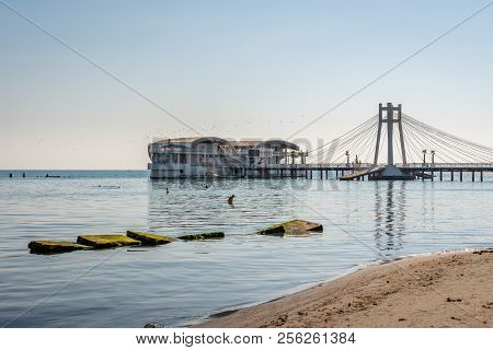 Durres, Albania - August 7, 2018: Outdoor Side View Of  A Suspension Pier With Restaurant In Durres