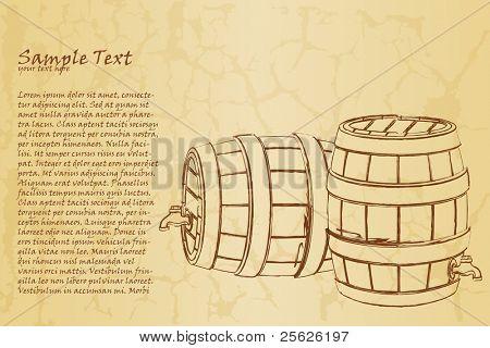 illustration of beer barrel on abstract vintage background