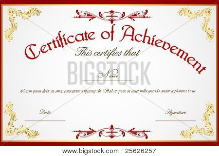 illustration of template for certificate of achievement
