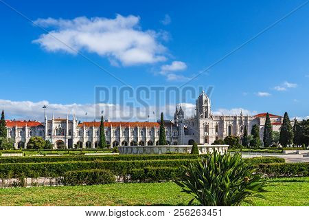 Jeronimos Monastery Or Hieronymites Monastery Is Located In Belem In Lisbon, Portugal. Travel Destin