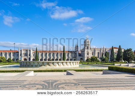 Hieronymites Monastery Or Jeronimos Is Located In Belem In Lisbon, Portugal. Travel Destination