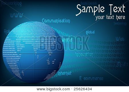 illustration of globe of binary number on abstract techno background