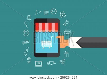 Online Shopping E-commerce Concept Mobile Shopping Man Holding Smart Phone Shop Icon Vector Set