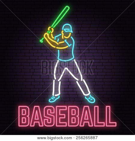 Neon Baseball Sign On Brick Wall Background. Vector Illustration. Neon Style Design With Baseball Ba
