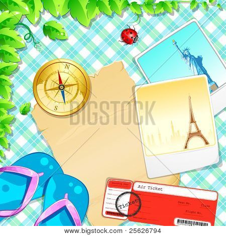 illustration of photograph with slipper and air ticket on pattern background