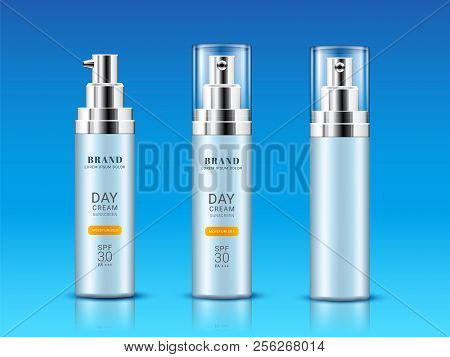 Set Of Isolated Vial For Sunscreen Cream Or Realistic Flacon For Sunburn Protection. Branding And Pa