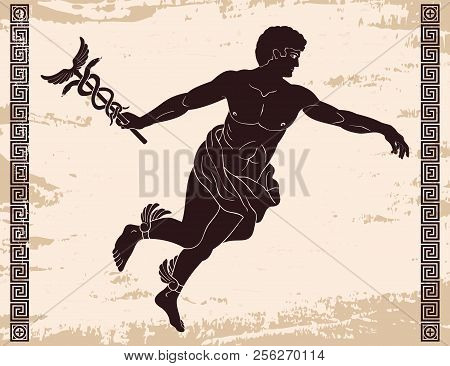 Ancient Greek God Hermes With A Wand In His Hand And Wings On His Feet. Image On A Beige Background