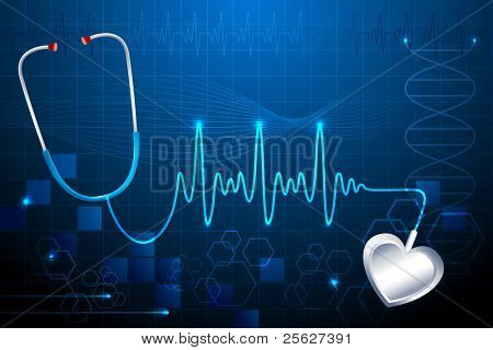 illustration of stethoscope showing heart beat on abstract medical background