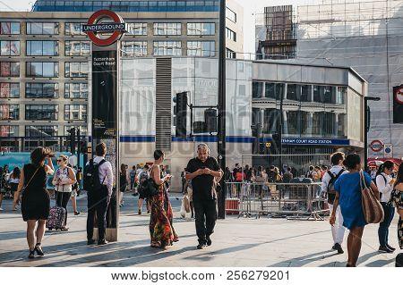 London, Uk - July 24, 2018: People Walking Near Tottenham Court Road, London, At Sunset. Tottenham C