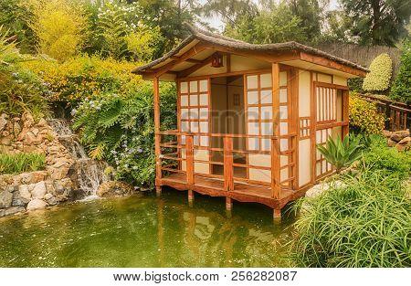 Japanese Garden. Environment Recreated In Park Of Spain.