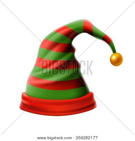 Christmas Holiday Hat.3d, Funky Red And Green Stripped Cartoon Christmas Vector Elf Hat Isolated Vec