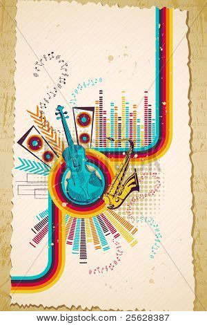 illustration of retro style musical background with violin