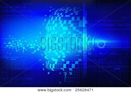 illustration of conceptual technological background with human head