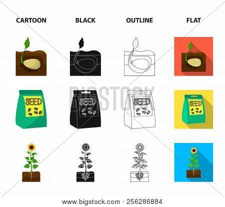 Company, Ecology, And Other Web Icon In Cartoon, Black, Outline, Flat Style. Husks, Fines, Garden Ic