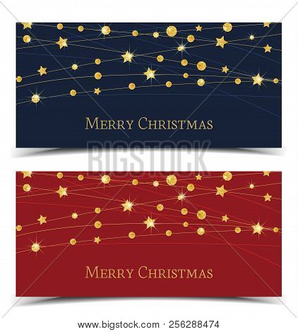 Vector Illustration Of A Christmas Banners. Merry Christmas Card With Golden Stars. Gold Decoration