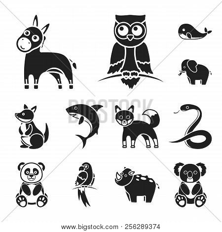 An Unrealistic Animal Black Icons In Set Collection For Design. Toy Animals Vector Symbol Stock Web