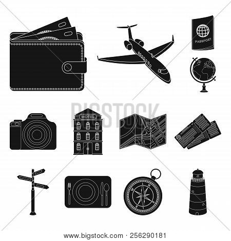Rest And Travel Black Icons In Set Collection For Design. Transport, Tourism Vector Symbol Stock Web