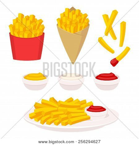 French Fries Vector Illustration Set. Potato Fries In Fast Food Box, Paper Cone And On Plate. Dippin