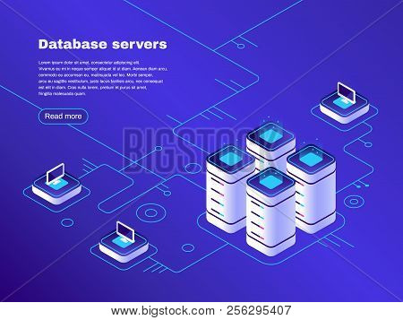 Database servers. Digital datacenter server network. Hosting tech support. Online cloud storage vector isometric illustration poster