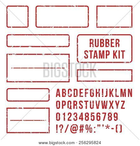 Rubber Stamp Letters. Red Stamps Frame And Letterpress Symbols With Font Numbers. Marks Kit Vector S