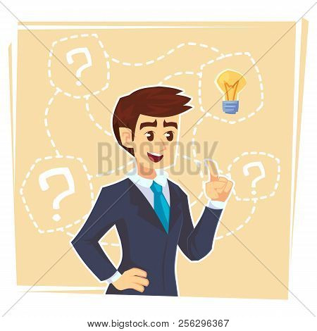 Businessman Thinking About Creative Idea. Business Man Standing With Question Marks And Idea Light B