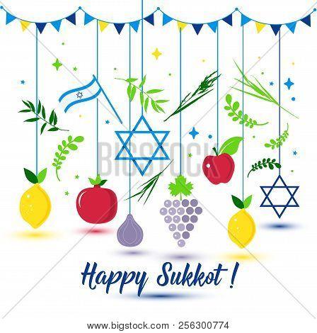 Happy Sukkot Holiday. Jewish Holiday Sukkot. Vector Jewish New Year. Autumn Fest. Rosh Hashana Israe