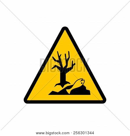 Dangerous For The Environment Yellow Triangle Sign. Dangerous For The Environment Hazard Warning Vec