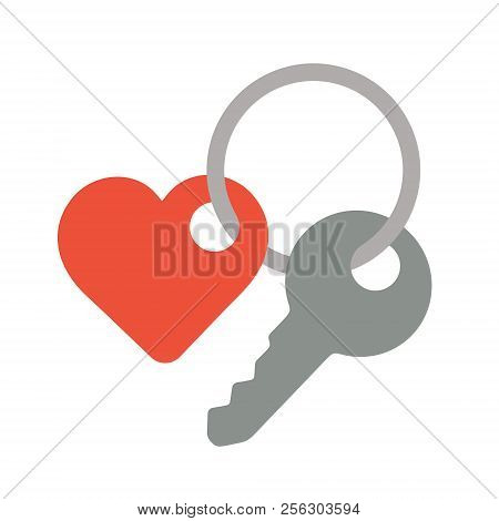 Key With A Trinket In The Shape Of Heart Sign, Flat Style Icon Vector Illustration Isolated On White
