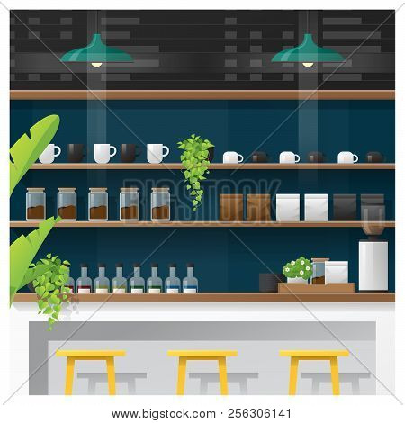 Interior Scene Of Modern Coffee Shop Counter Bar , Vector , Illustration