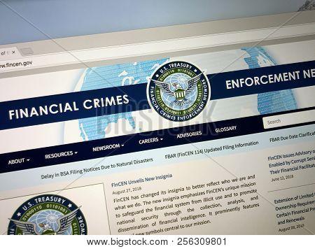 Amsterdam, The Netherlands - September 2, 2018: Website Of The Financial Crimes Enforcement Network