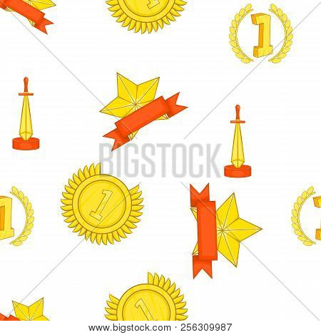 Trophy And Awards Pattern. Cartoon Illustration Of Trophy And Awards Pattern For Web
