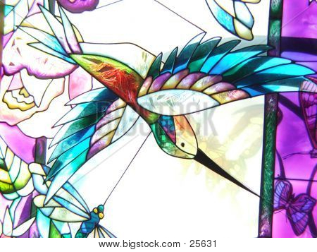 stained glass hummingbird poster