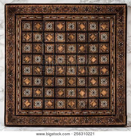 Decorative Vintage Andmade Chessboard As Texture And Background