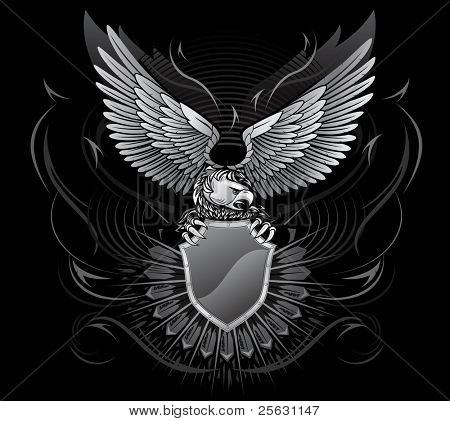 Wild Eagle Upon the Shield On Black Background