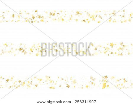 Magic Gold Sparkle Texture Vector Star Background. Festive Gold Falling Magic Stars On White Backgro