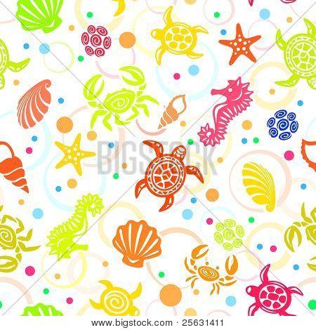 Seamless Sea Life Pattern