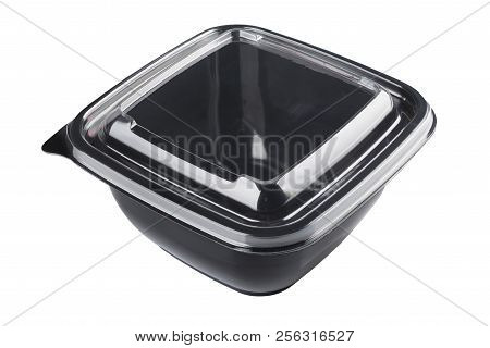 Black Empty Plastic Disposable Take Out Container Isolated On White Background With Clipping Path