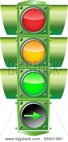 Vector illustration of a traffic light with a right arrow. Only Linear and Radial gradients used.