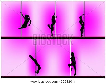 Vector eps 8 of 5 pole dancers silhouettes with sexy poses. Background can be easily removed. Each element on separate layers.