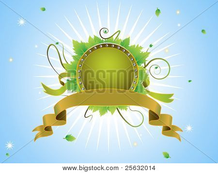 Diamond incrusted shield with leaves and flourishes behind a gold like banner. EPS 8 file. Linear and Radial gradients.