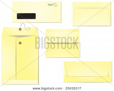 Five different types of envelopes for business correspondence and mailing. Layers clearly organized so the editing is simplified. EPS 8, radial gradients used.