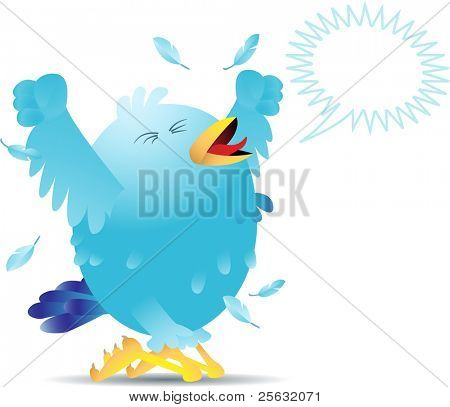 Blue bird yelling and screaming either in pain or joy. Linear and radial gradients used.