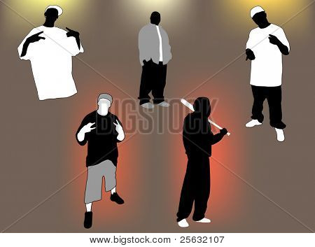 Set of gangsta 5 poses and attitudes. Ideal for street and/or hip hop oriented design.